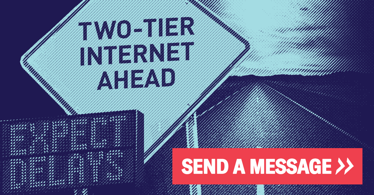 "Sign on blue background that says ""Two-tier internet ahead"""
