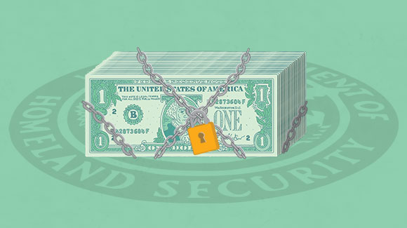 Dollar bills on green background to denote more funding for the Department of Homeland Security