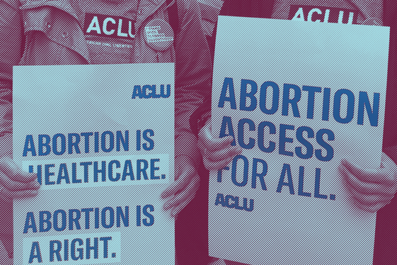 """Image of two activists holding rally signs that read """"Abortion is healthcare. Abortion is a right."""" on the left and """"Abortion Access for All"""" on the right."""