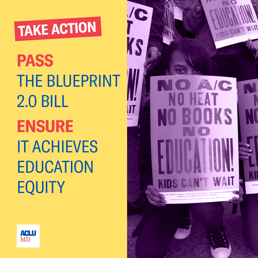 Take Action: Pass the Blueprint 2.0 bill and ensure it achieves education equity. Image has text on the left on a yellow background and a purple backpack on the right with a COVID mask.
