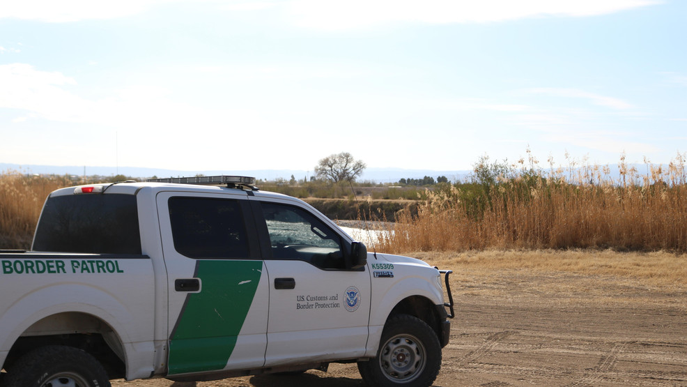 Photograph of a Customs and Border Protection truck parked on the side of the road