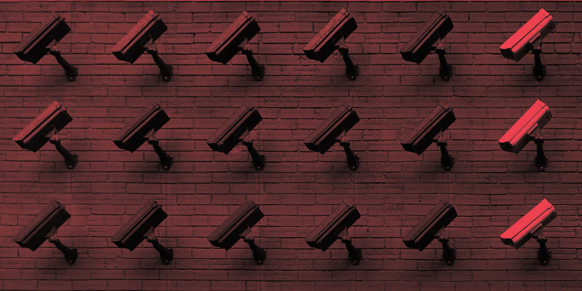 Rows of surveillance cameras