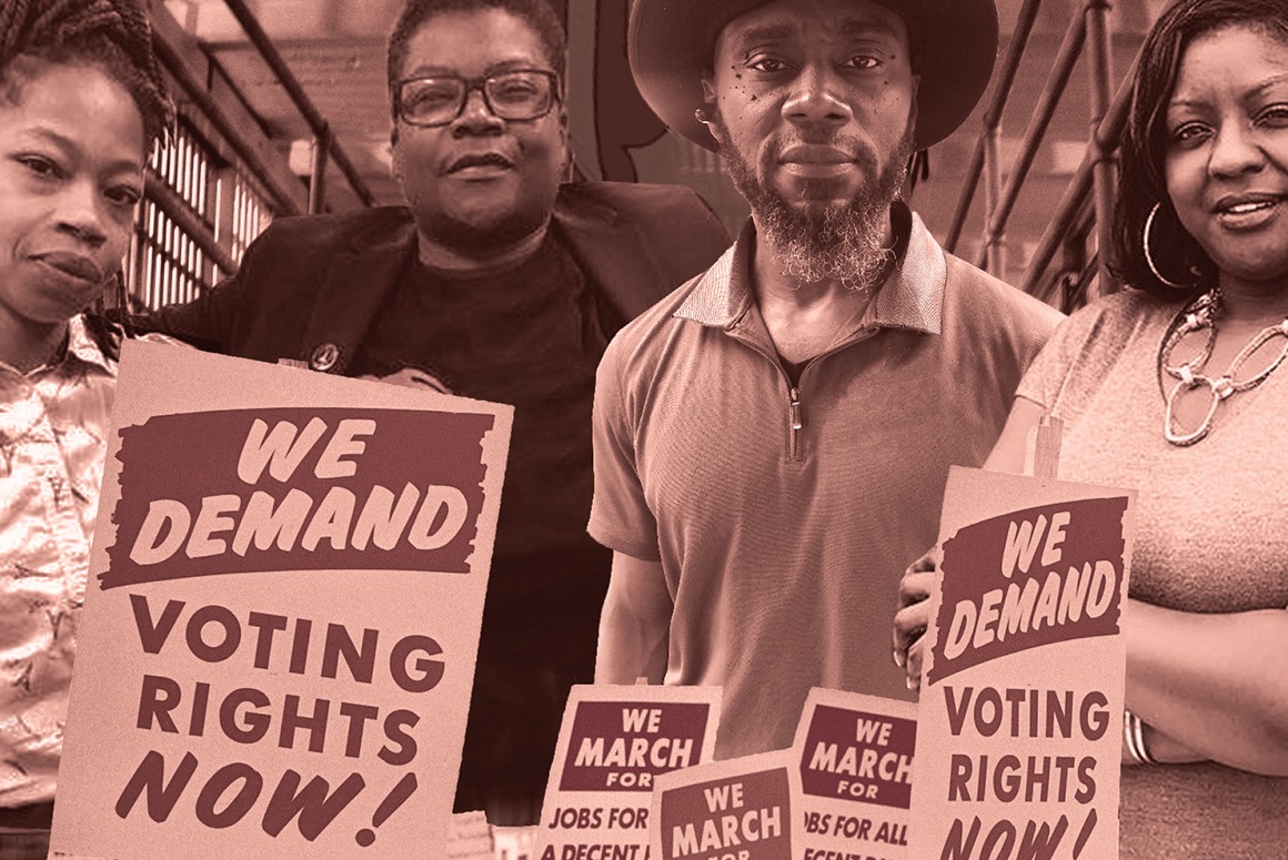 """Image shows Nicole Hanson Mundell, Monica Cooper, Earl Young, and Qiana Johnson from left to right. There are signs visible below them that say """"We Demand Voting Rights Now!"""" that are from a march during the Civil Rights movement. Image is pink and brown."""
