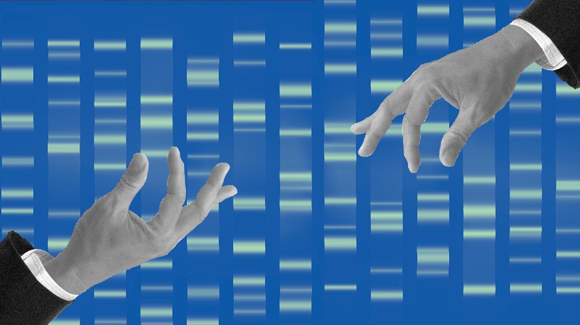 Hands selecting genes