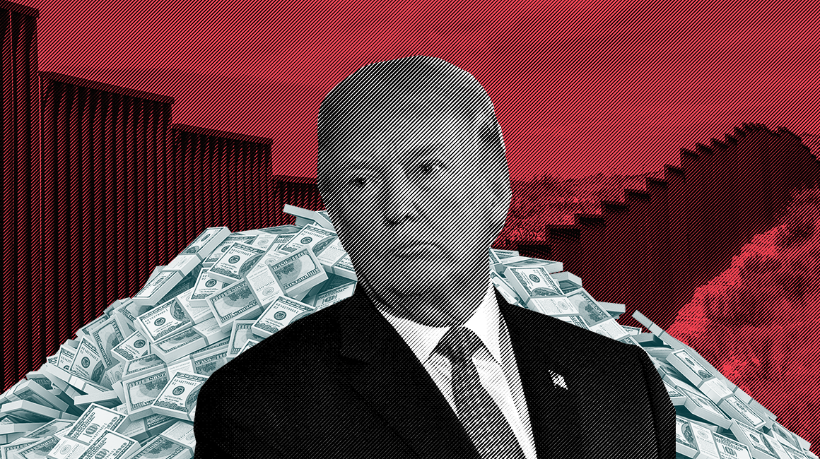President Trump standing in front of a pile of money and a border wall