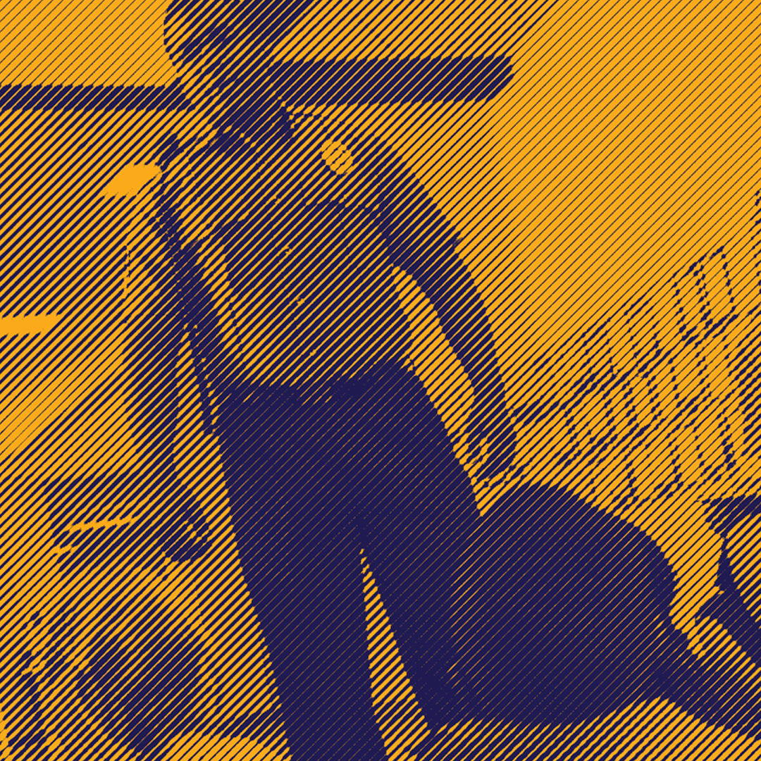 KEEP SCHOOLS SAFE, REPLACE POLICE WITH STUDENT SUPPORTS. Image shows a police officer standing over two students. The image is dark yellow and navy blue and is stylize with a lined treatment.