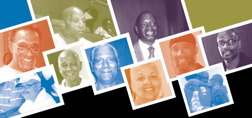 Image from the cover of the Still Blocking the Exit report by ACLU of Maryland. Images of Black people with blue, green, orange, and purple color overlays over their pictures.