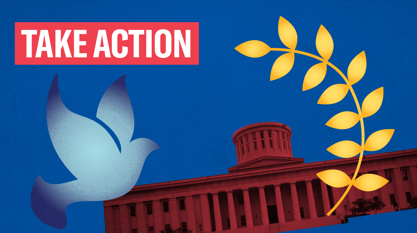 Take Action - The Ohio Statehouse in red, a peace dove in blue, and peace leaves in orange, on a blue textured background