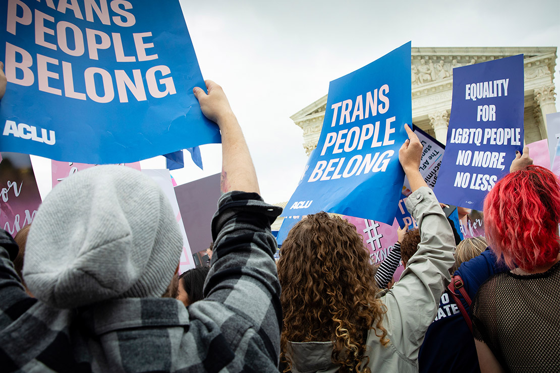 Photograph of ACLU supporters rallying for LGBTQ Equality in front of the Supreme Court