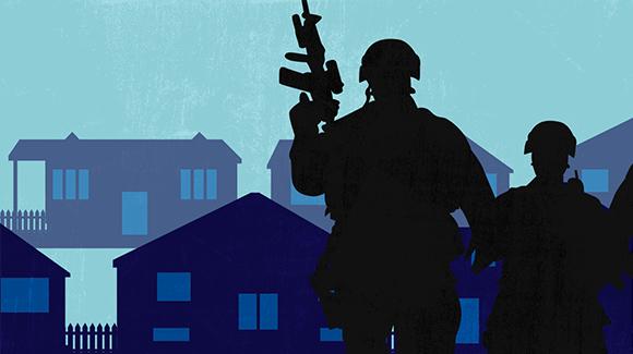 Soldiers standing in neighborhood on blue blackground