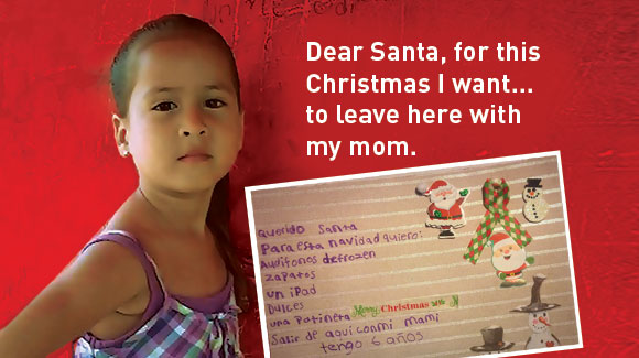 Child in detention with her Christmas list'