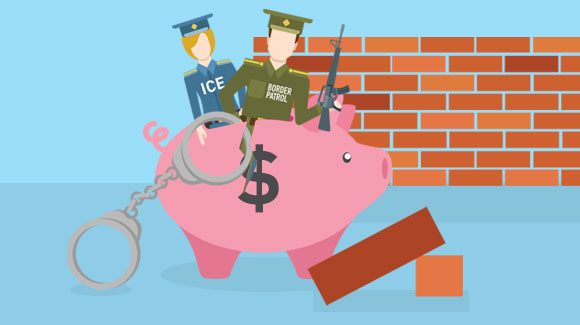 Piggy bank with police and ICE coming out of it in front of brick wall'